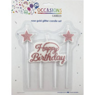 """Candle Set - Rose Gold """"Happy Birthday"""""""