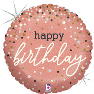 "45cm Birthday ""Rose Gold Confetti"" Foil - Flat"