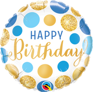 """45cm Birthday """"Blue and Gold Dots"""" Foil - Flat"""