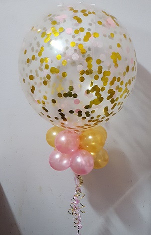 60cm Confetti Jumbo with 10 Balloon Collar.  Can be sized to Floor or Table decorative requirements.