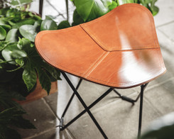 Cuero - Leather Stool (Ex-display) Polo leather with black frame
