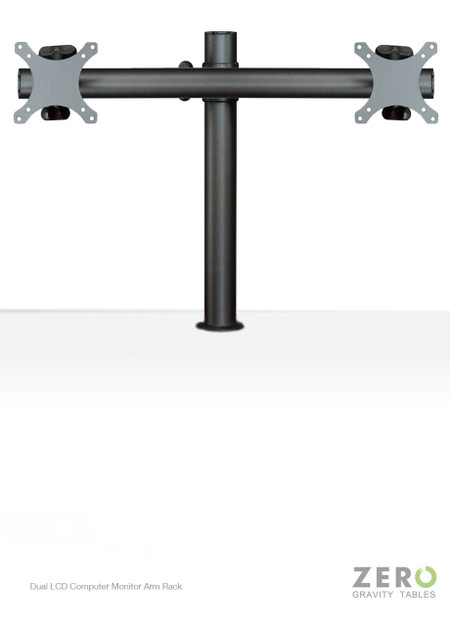 """Easily mounted onto any single standard Zero Gravity Tables surface grommet hole, this dual monitor solution is fitted with Universal VESA brackets and supports all monitors up to 24"""". In addition to its ergonomic design and fatigue-reducing benefits, this monitor mount also aids in creating a clean, uncluttered workspace by providing easy cable management and lifting the monitors off of the desktop, increasing space."""