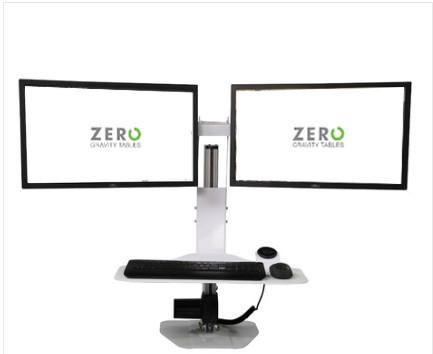 Micro Desktop Dual | Dual Monitor Mount | Gloss White