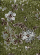 17014 - Roberto Cavalli 6 Floral Green White Brown Wallpaper