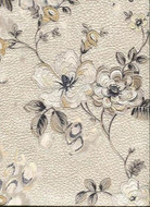 17015 - Roberto Cavalli 6 Floral Cream Brown Black Wallpaper