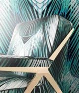 17202 - Roberto Cavalli 6 Foliage Turquoise White Black Wallpaper Panel