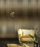 17207 - Roberto Cavalli 6 Geometric Pattern Black Gold Wallpaper Panel