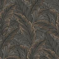 UK10048 - Peartree Glitter Leaf Chocolate - Rose Gold Wallpaper