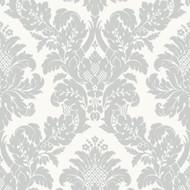 UK10432 - Peartree Glitter Damask White Wallpaper