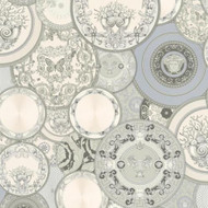 349013 - Versace Greek Dishes Plates Silver Grey AS Creation Wallpaper