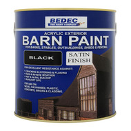 2.5lt Bedec Acrylic Exterior Barn Paint Satin Black For All External Wood