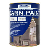5lt Bedec Acrylic Exterior Barn Paint Semi Gloss WhiteFor All External Wood