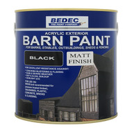 2.5lt Bedec Acrylic Exterior Barn Paint Matt Black For All External Wood