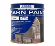 5lt Bedec Acrylic Exterior Barn Paint Matt White For All External Wood