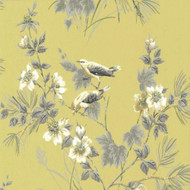 1601-100-01  - Rosemore Trees Birds Mustard Grey 1838 Wallpaper