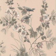 1601-100-02  - Rosemore Trees Birds Pink Taupe Grey 1838 Wallpaper