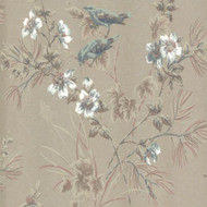 1601-100-04  - Rosemore Trees Birds Taupe Blue 1838 Wallpaper