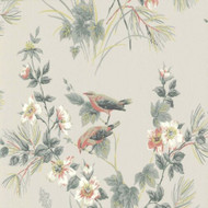 1601-100-05  - Rosemore Trees Birds Grey White Coral 1838 Wallpaper