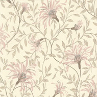 1601-101-02  - Rosemore Daisy Floral Trails Pink Cream 1838 Wallpaper