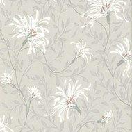 1601-101-05  - Rosemore Daisy Floral Trails Grey White Coral 1838 Wallpaper