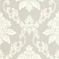 1601-106-05  - Rosemore Damask Striped Grey White 1838 Wallpaper