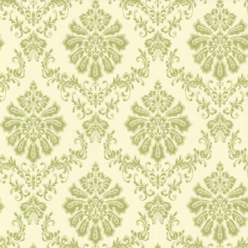 1602 104 05 Avington Mid Scale Damask Cream Lime Green 1838 Wallpaper