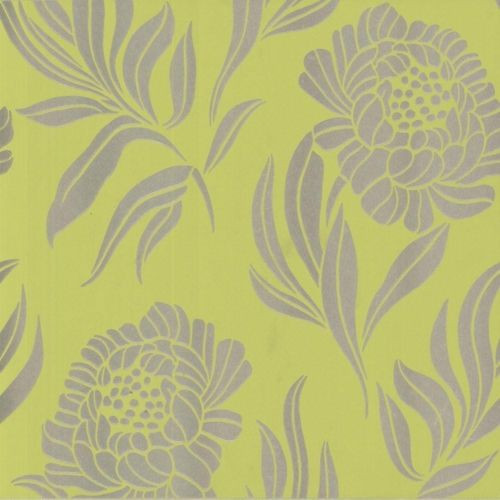 1602 106 05 Avington Large Floral Motif Gold Lime Green 1838 Wallpaper