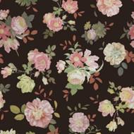 383611 - Rice  Vintage Flowers Pink Black Eijffinger Wallpaper Mural