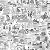 BK32083 - Homestyle Newspaper Clippings Black White Galerie Wallpaper