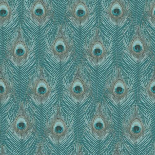 G67978 Organic Textures Peacock Feathers Teal Galerie Wallpaper
