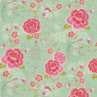 313013 - Pip Studio 2 Roses Birdcages Green Pink Eijffinger Wallpaper