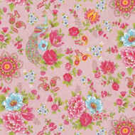 313053 - Pip Studio 2 Peacocks Floral Pink Multicoloured Eijffinger Wallpaper