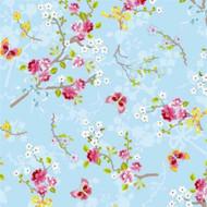375071 - Pip Studio 4 Chinese Roses Sky Blue Pink Green  Eijffinger Wallpaper