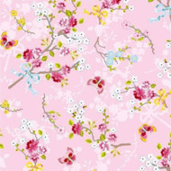 375072 - Pip Studio 4 Chinese Roses Pink White Green Eijffinger Wallpaper
