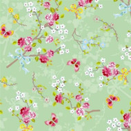 375073 - Pip Studio 4 Chinese Roses Green White Pink Eijffinger Wallpaper