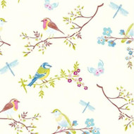 375080 - Pip Studio 4 Morning Birds Cream Multicoloured Eijffinger Wallpaper