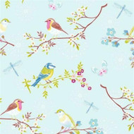 375081 - Pip Studio 4 Morning Birds Sky Blue Multicoloured Eijffinger Wallpaper