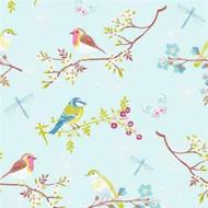 375081 - Pip Studio 4 Morning Birds Sky Blue Multicoloured Eijffinger Wallpaper