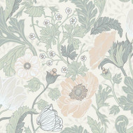 33000 - Apelviken Anemone Floral Vines White/lightgreen Galerie Wallpaper