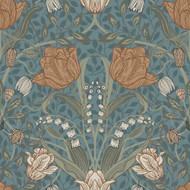 33009 - Apelviken Leafy Vines Blossom Blue/blush Galerie Wallpaper