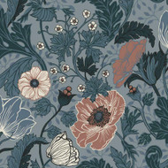 33004 - Apelviken Anemone Floral Vines Blue/blush Galerie Wallpaper