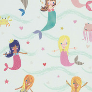 305691 - Boys & Girls Cartoon Mermaids Blue Green AS Creation Wallpaper