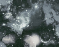 340662 - Boys & Girls Stars Galaxy Black Grey White AS Creation Wallpaper