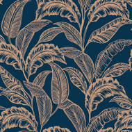 275116 - Accessorize Leaves Foliage Ink Blue Rose Gold Rasch Wallpaper