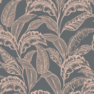 275130 - Accessorize Leaves Foliage Grey Rose Gold Rasch Wallpaper