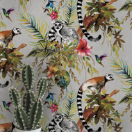 12401 - Fantasia Lemur Forest Animals Silver Multicoloured Holden Wallpaper