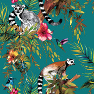 12402 - Fantasia Lemur Forest Animals Teal Multicoloured Holden Wallpaper