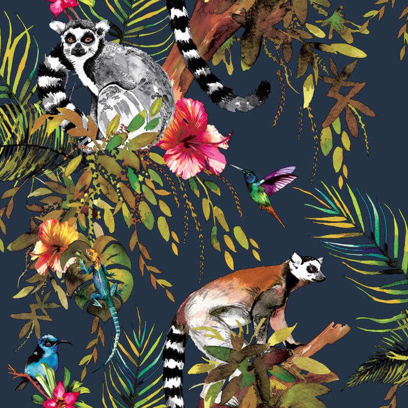 Fantasia Lemur Forest Animals Silver Multicoloured Holden Wallpaper 12401