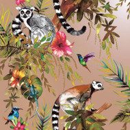 12404 - Fantasia Lemur Forest Animals Rose Gold Multicoloured Holden Wallpaper