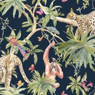 90690 - Fantasia Jungle Animals Navy Multicoloured Holden Wallpaper